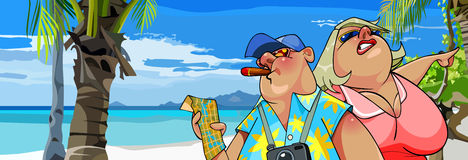 有一张地图的动画片肥胖游人在与棕榈树的海滩 库存照片