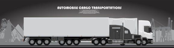 有一张拖车海报的卡车在一个工业题材 图库摄影