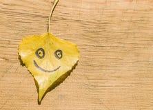 有一张滑稽的面孔的黄色叶子在老木背景 免版税库存照片