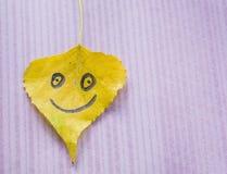 有一张滑稽的面孔的黄色叶子 免版税库存图片