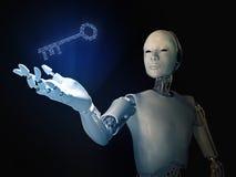 有一把二进制编码钥匙的机器人 库存照片