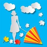 有一把伞的女孩在秋天 向量例证