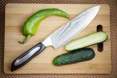 有一把刀片的刀子厨房从锦缎钢 库存图片