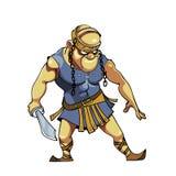 有一把剑的动画片战士在北欧海盗穿衣 免版税库存图片