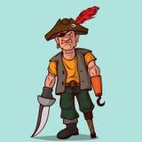 有一把剑的海盗在一条木腿 而不是一只手,勾子 一只眼睛 库存例证