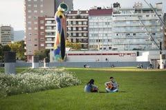 有一把吉他的青年人在巴塞罗那,西班牙 库存照片