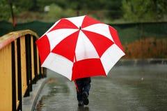 有一把大伞的小孩 免版税库存图片