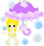 有一把时髦的伞的女孩 库存照片
