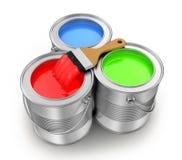 绘有油漆刷的罐头 免版税库存照片