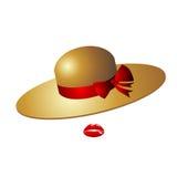 有一把红色弓的逗人喜爱的女性魅力帽子 它由秸杆或fe制成 免版税库存图片