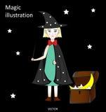 有一支不可思议的鞭子的逗人喜爱的矮小的巫婆在一个帽子和斗篷有星、胸口与星和月亮的,黑背景 免版税图库摄影