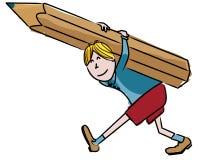 有一支巨大的铅笔的孩子 免版税库存图片