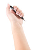 有一支笔的女性手署名的 库存照片