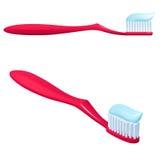 有一支蓝色牙膏、一张侧视图和透视图的红色牙刷 库存照片