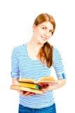 有一本开放书的美丽的女孩 免版税图库摄影