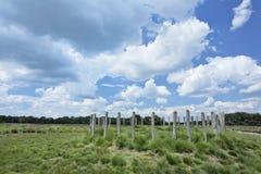 有一朵古老坟墓和剧烈的云彩的荷兰荒地土地 免版税库存照片
