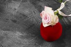 有一朵圆环和桃红色玫瑰的箱子在黑暗的背景 复制空间 免版税图库摄影