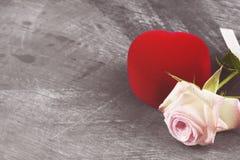 有一朵圆环和桃红色玫瑰的箱子在黑暗的背景 复制空间 库存照片
