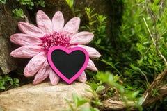 有一朵桃红色心脏和仿制花的神秘的假山庭园 库存照片