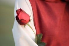有一朵红色玫瑰的妇女红色礼服 免版税库存照片