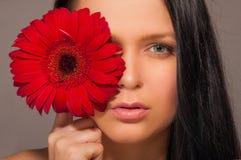 有一朵红色花的女孩 免版税库存图片