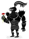 有一朵红色花的装甲的骑士 库存图片