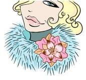 有一朵花的女孩在毛皮 免版税库存照片
