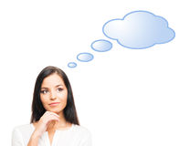 有一朵蓝色云彩的一名成功和美丽的女实业家 免版税库存图片