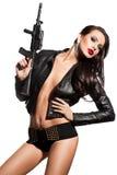 有一杆枪的妇女在现有量 免版税库存照片