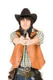 有一杆枪的牛仔在现有量 免版税库存照片