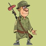 有一杆步枪的动画片滑稽的战士有刺刀的 免版税库存图片