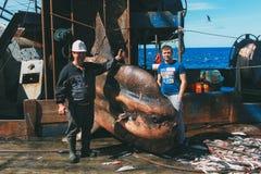 有一条大翻车鱼的水手 免版税库存图片