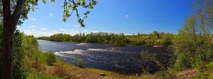 有一条懒惰河和急流的春天全景 免版税库存图片