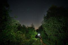 有一条火热的轨道的农村路在满天星斗的天空下 免版税库存图片