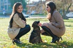 有一条狗的二个少妇在秋天停放 免版税库存图片