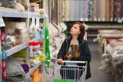 有一条狗的妇女在她的胳膊和一手推车在地毯商店 免版税库存照片