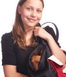 有一条狗的青少年的女孩在袋子 库存图片