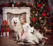 有一条白色狗的女孩 库存照片