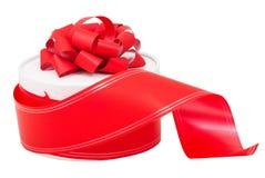 有一条红色弓和丝带的来回礼物盒 免版税库存照片