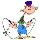 有一条跨越横线的快乐的小丑 库存图片