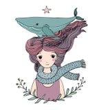 有一条鲸鱼的美丽的女孩水手在她的头发 海洋动物 库存图片