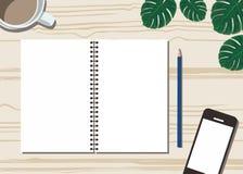 有一杯咖啡的书桌、handphone、花和纸平的设计 皇族释放例证