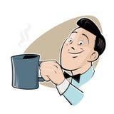 有一杯咖啡的减速火箭的动画片人 免版税库存图片