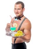 有一杯的侍者刮毛器鸡尾酒 库存图片