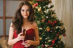 有一杯的女孩在新年的树的香槟 免版税图库摄影