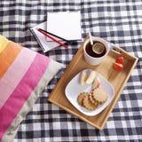 有一杯茶和一块板材的盘子用姜饼干和一个苹果在一条方格的床罩 图库摄影