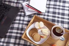 有一杯茶和一块板材的盘子用姜饼干和一个苹果在一条方格的床罩 免版税库存图片