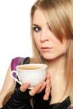 有一杯茶的可爱的新金发碧眼的女人 库存照片