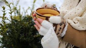 有一杯茶的女孩户外在冬天 影视素材