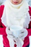 有一杯茶的妇女在户外冬天 库存照片